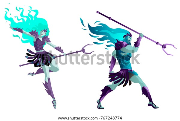 Hades Persephone God Greek Mythology Dead Stock Vector