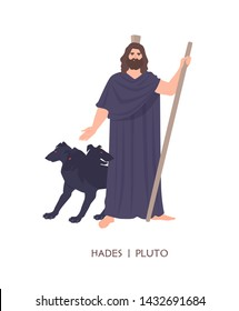 Hades or Pluto - god of dead, king of underworld in ancient Greek and Roman religion or mythology. Male cartoon character isolated on white background. Flat cartoon colorful vector illustration.
