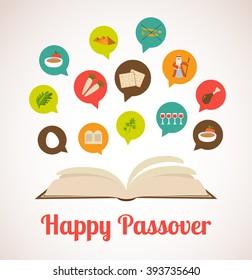 . Haggadah book telling the Passover story. Jewish holiday