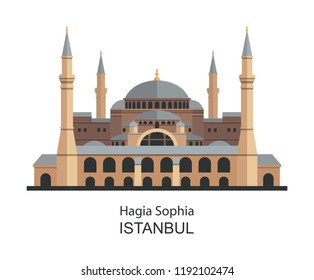Hagia Sophia in Istanbul, Turkey. Vector illustration. Flat icon highly detailed