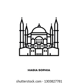 Hagia Sophia at Istanbul, Turkey, vector line icon. International landmark and tourism symbol.
