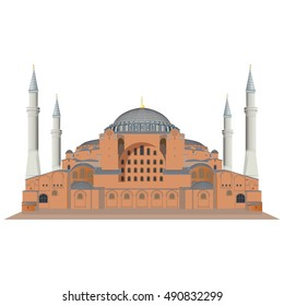 Hagia Sophia in Istanbul, Turkey. Vector, illustration.