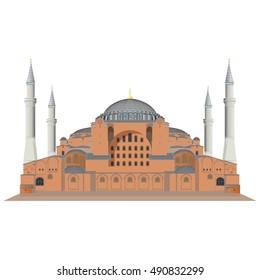 Hagia Sophia in Istanbul, Turkey. Vector, illustration.