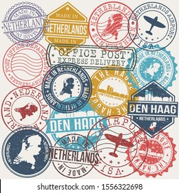 The Hague Belgium Set of Stamps. Travel Stamp. Made In Product. Design Seals Old Style Insignia.