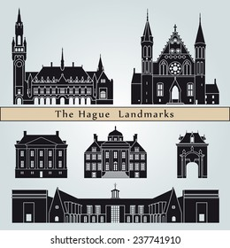 The Hague landmarks and monuments isolated on blue background in editable vector file