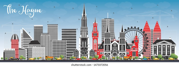 The Hague Netherlands City Skyline with Color Buildings and Blue Sky. Business Travel and Tourism Concept with Historic Architecture. Hague Cityscape with Landmarks.