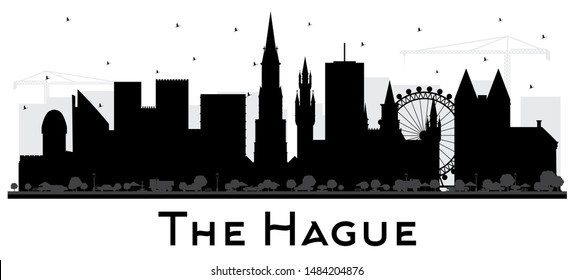 The Hague Netherlands City Skyline Silhouette with Black Buildings Isolated on White. Business Travel and Tourism Concept with Historic Architecture. Hague Cityscape with Landmarks.