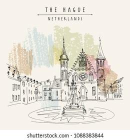 The Hague, Netherlands, Europe. The 13th century Binnenhof (Inner Court) complex of buildings. Dutch heritage site. Travel architecture sketch. Vintage hand drawn tourism postcard. Vector illustration