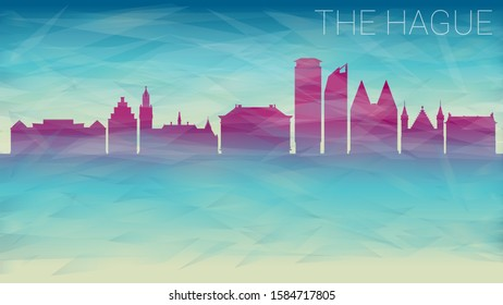 The Hague Netherlands Skyline. Broken Glass Abstract Geometric Dynamic Textured. Banner Background. Colorful Shape Composition.