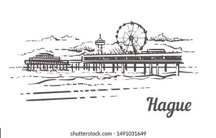 Hague Scheveningen Pier sketch. Hague hand drawn illustration isolated on white background.
