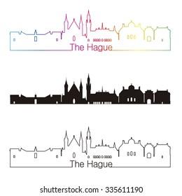The Hague skyline linear style with rainbow in editable vector file