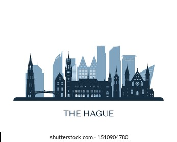 The Hague skyline, monochrome silhouette. Vector illustration.