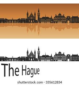 The Hague skyline in orange background in editable vector file