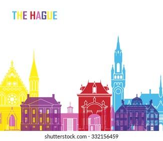 The Hague skyline pop in editable vector file