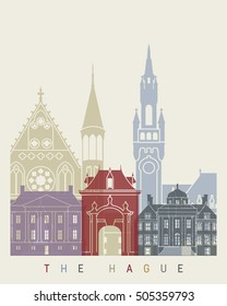 The Hague skyline poster in editable vector file