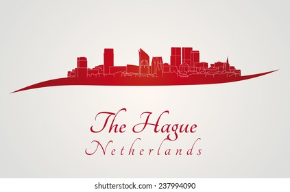 The Hague skyline in red and gray background in editable vector file