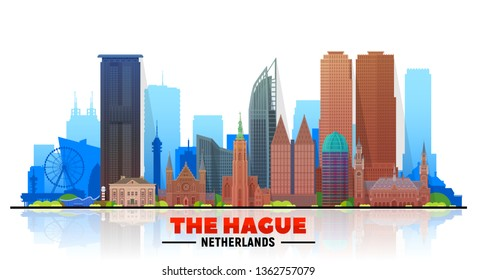 The Hague (The Netherlands) skyline with panorama in white background. Vector Illustration. Business travel and tourism concept with modern buildings. Image for banner or web site