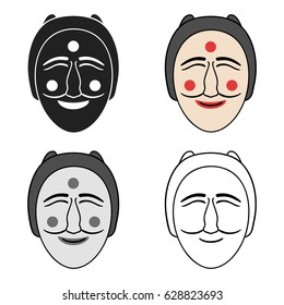 Hahoe mask icon in cartoon style isolated on white background. South Korea symbol stock vector illustration.