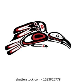 Haida raven tattoo. Ornament in haida style. Isolated bird on white background. Black and red color. Vector.
