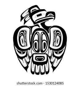 Haida thunderbird tattoo. Ornament in haida style. Isolated bird on white background. Black monochrome. Vector.