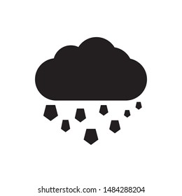 Hail cloud icon vector. Simple design on white background.