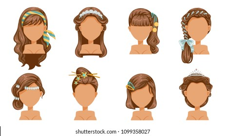 hair accessories, hair pin, crown, hairpin, haircut, beautiful  hairstyle. modern fashion for assortment. long , short, curly  salon trendy haircut. vector icon set isolated on white background.