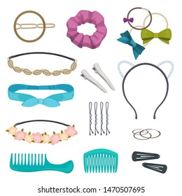 Hair accessories. Woman stylish hair item clips flowers bandanas gags bows elastic bands hoops vector cartoon. Headband and hoop for hair, gag and pin illustration