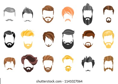 Hair, beard and face, hair, mask cutout cartoon flat collection. Vector men's hairstyle, illustration, beard and hair. Hairstyles icons isolated hairstyles for white background isolated.
