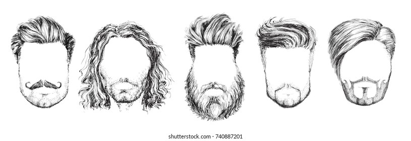 Hair and Beards, Fashion Vector Illustration Set