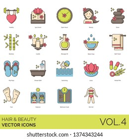 Hair and beauty icons including healthy, spa school, open hours, stone, bamboo, candle, massage oil, water drop, bath towel, flip flops, shower, swimming, lotus, herbal pills, feet, solarium, bathroom
