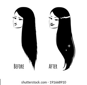 Hair before and after. Vector illustration.
