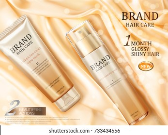 Hair care ads, top view of luxury hair repair product on glossy light yellow satin with some particles in 3d illustration