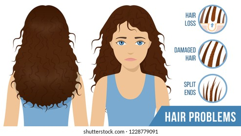 Hair care. Common problems - split ends, damaged hair, hair loss. Vector