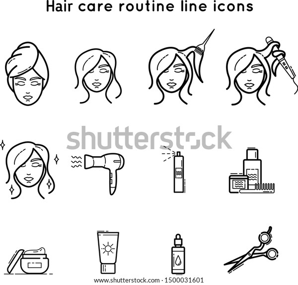 Hair Care Cosmetics Tools Line Icon Stock Vector Royalty Free 1500031601