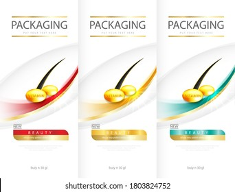 Hair care design of shampoo. cosmetic for design the effects of protection and shine and radiance of hair on a bright. Vector illustration.