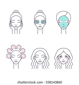Hair care and facial skin icon set