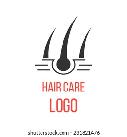 hair care logo isolated on white background. concept of scalp care or haircare, epilation, hair removal, cosmetics and healthy lifestyle. modern vector illustration