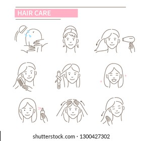 Hair care procedures.Line style vector illustration isolated on white background.