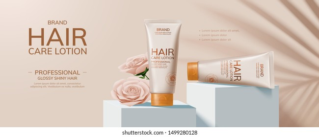 Hair care product and paper art roses on square podium, 3d illustration cosmetic banner ads