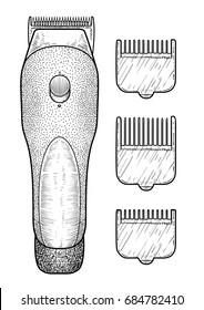 Hair clipper illustration, drawing, engraving, ink, line art, vector