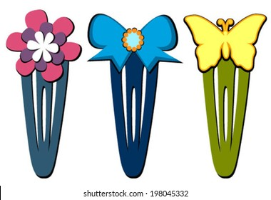 hair clips flower, bow, butterfly