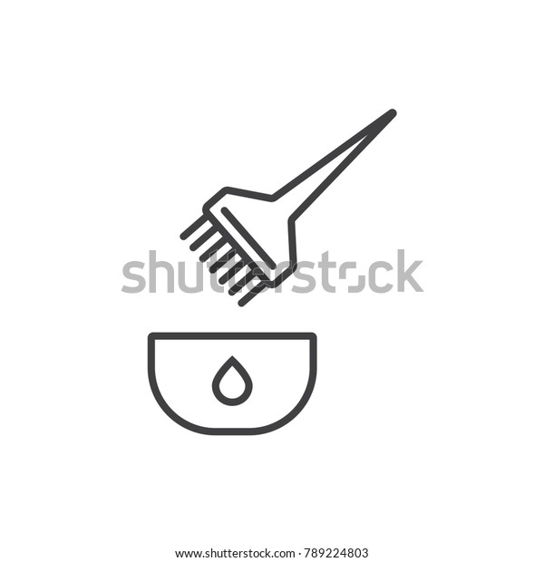 Hair Color Tint Brush Line Icon Stock Vector Royalty Free 789224803