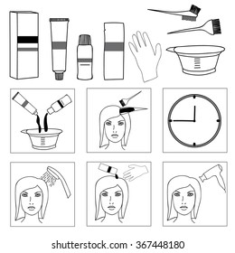 Hair coloring, accessories and supplies for hairdressers. Steps to Dye Your Hair. Black and white