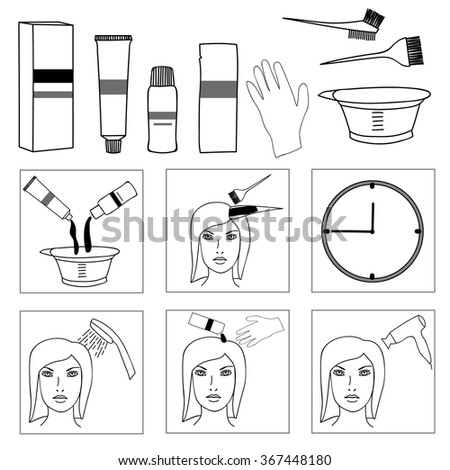 Hair Coloring Accessories Supplies Hairdressers Steps Stock ...