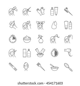 Hair coloring icons set for your design