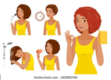 Hair Coloring Process. Steps Of Black Skin Woman Coloring Her Own Hair, Nourishing, Beauty, Fashion, Hairstyle, Scalp