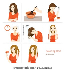 Hair Coloring Process. Steps Of Young Woman Coloring Her Own Hair From Brunette to Blonde At Home, Nourishing, Beauty, Fashion, Hairstyle, Scalp