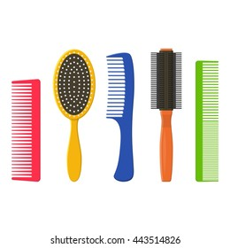 Hair combs and hairbrushes set isolated on a white background. Fashion equipment collection hairbrush and style comb hairdresser vector icon. Care for themselves in flat style