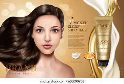 hair conditioner contained in tube with model face, golden and creamy flows, bokeh background 3d illustration