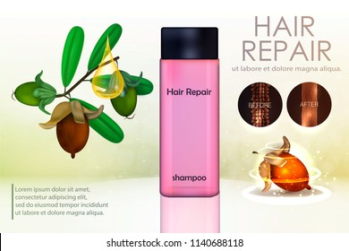 Hair conditioner with jojoba extract. Hair before and after using shea butter. Vector